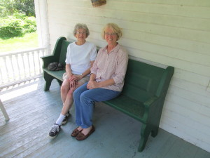 7-14-14 Judith Frost Gillis and Josie Quimby b. 1924_church pew from EOCC