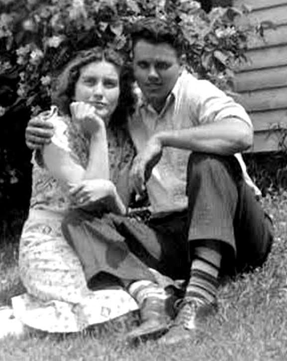 Circa 1940, Donald Holyoke with Dorothea Crook at the Crook farm, EO before they married in Orrington August 17, 1941 Killed in action 23 May 1944
