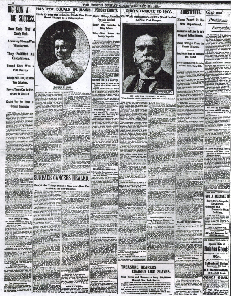 18 Jan 1903 Boston Globe photocopy of orginal article on Blanche Hinds, telepgraph operator, page 4 (1)