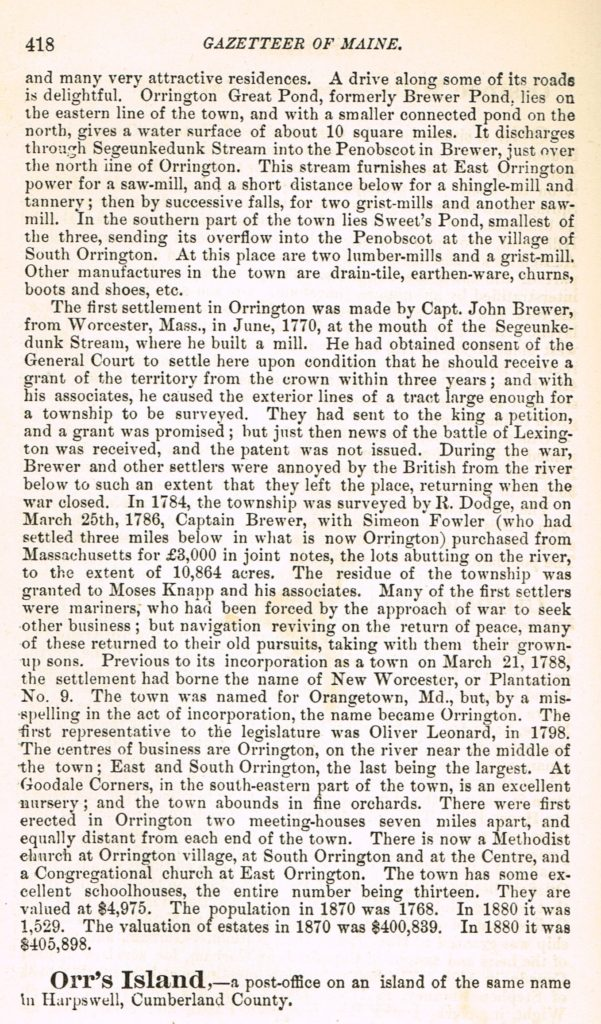 1886 Gazetteer of State of Maine, pg.418