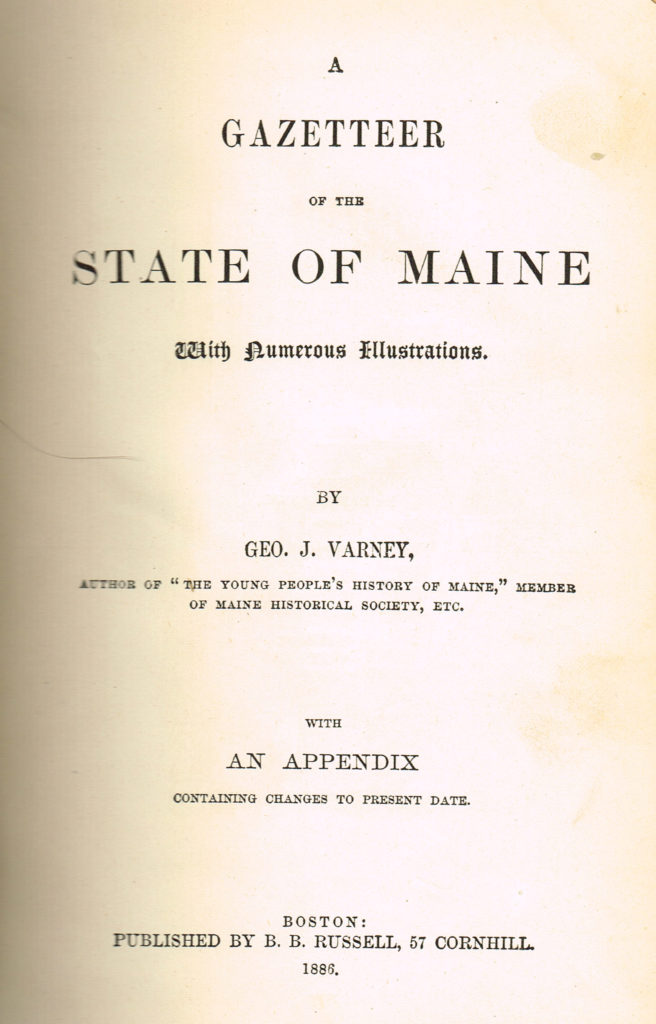 1886 Gazetteer of State of Maine, title page